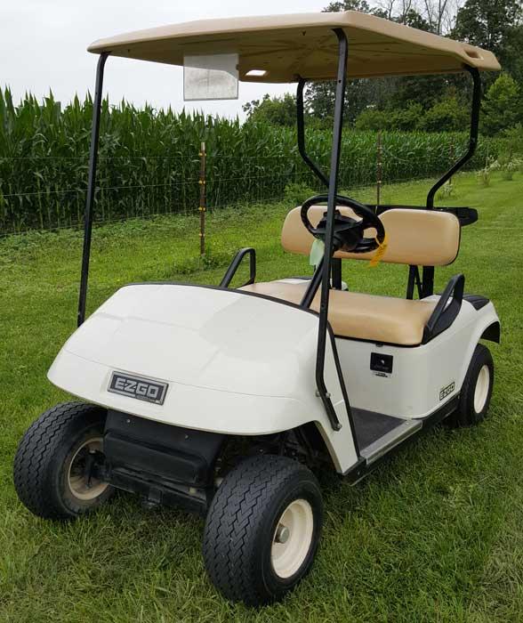 2010 EZGO Gas White Golf Cart 13 5 HP Kawasaki | Buckeye Pro
